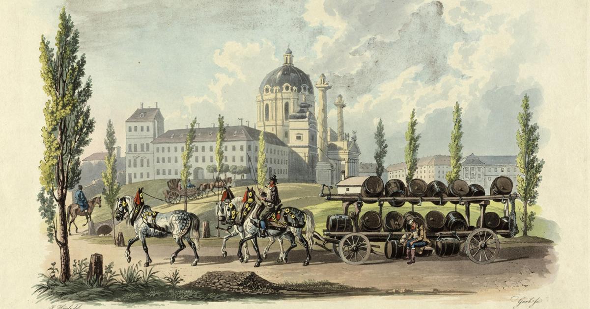 Bierkoets voor de Wiener Karlskirche.