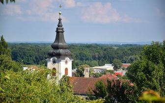 De kerktoren in Gornja Radgona