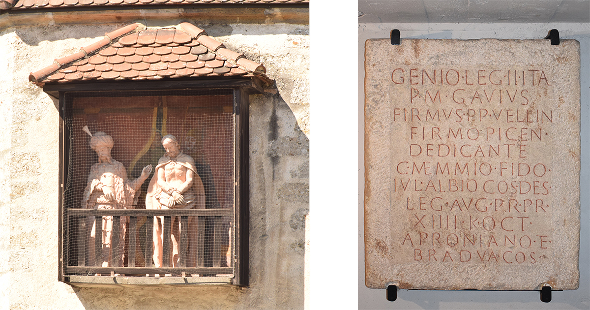 Ecce Homo-groep en Romeinse gedenksteen bij de Sint-Laurentiusbasiliek