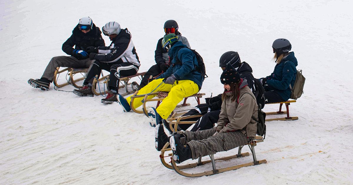 Rodelen in skigebied Elfer