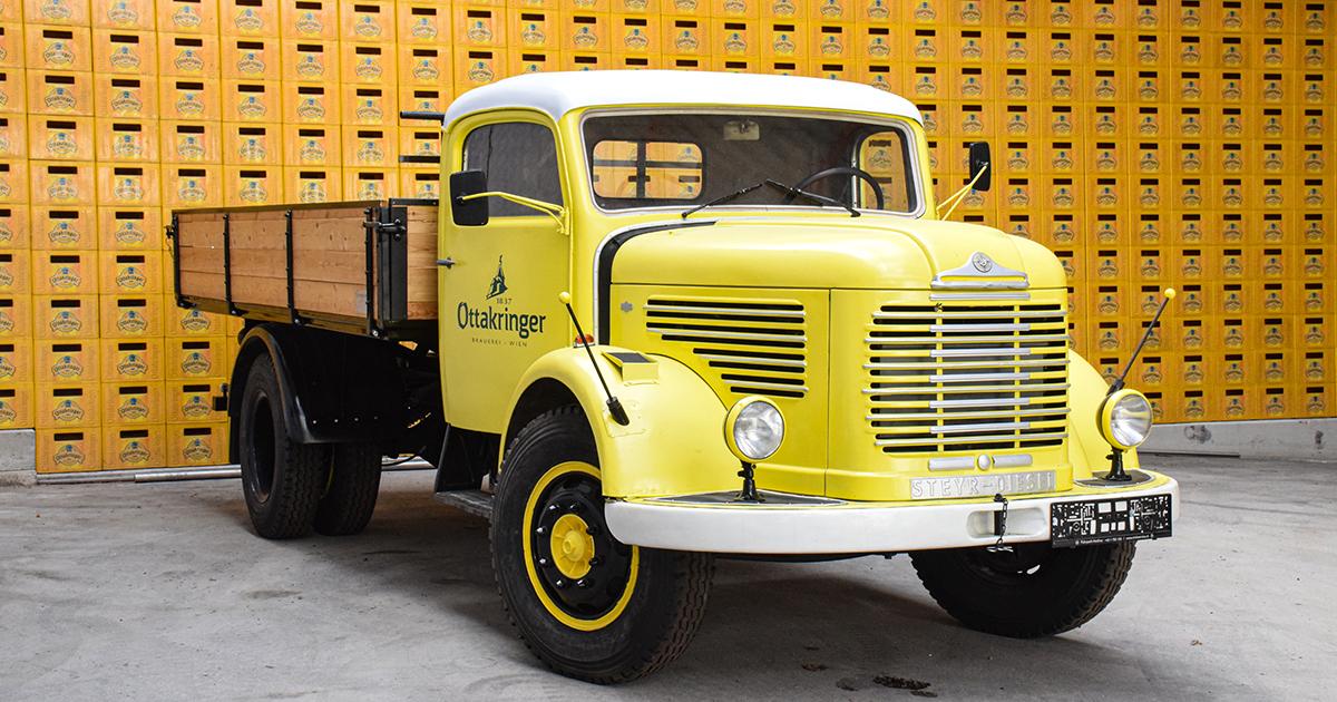 Historische vrachtwagen van Ottakringer