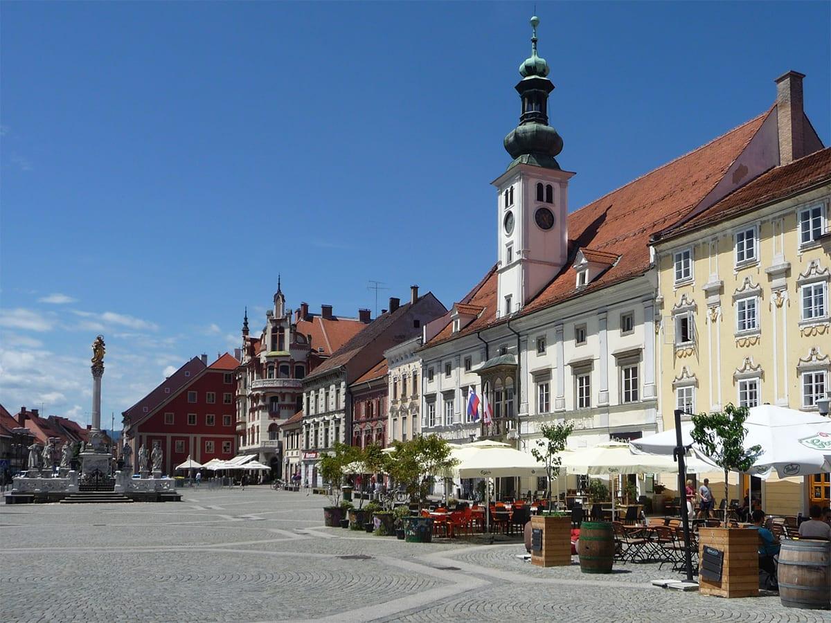 Het centrale plein van Maribor